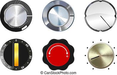 knobs set - vector six knobs set on white background, eps10 ...