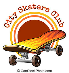 Vector skateboard emblem with the text - City Skaters Club -...