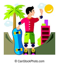 Vector Skateboarding. Flat style colorful Cartoon illustration.