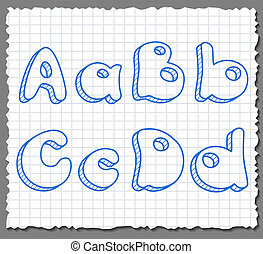 Vector sketch 3d alphabet letters - ABCD