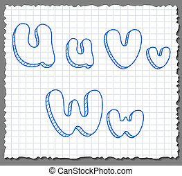 Vector sketch 3d alphabet letters - UVW