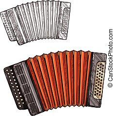 Vector sketch accordion musical instrument