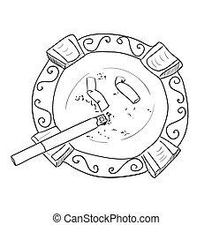 Vector sketch ashtray with cigarette