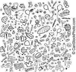 Vector Sketch background with baby stuff - Vector Baby born...
