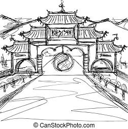 Vector Sketch background with china