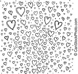 Vector Sketch background with hearts