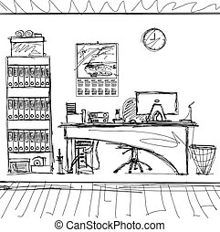 Vector Sketch background with interior