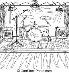 Vector Sketch background with music