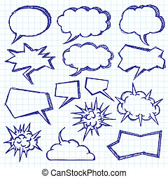 Vector Sketch Background With Speech Bubbles - Vector sketch...