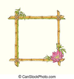Vector sketch bamboo frame with lotus flower
