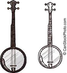 Vector sketch banjo guitar musical instrument
