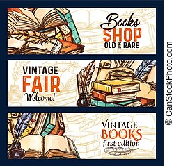 Vector sketch banners of old rare vintage books