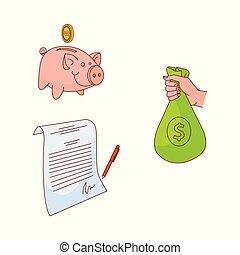 Vector sketch business finance banking money set - business...