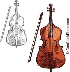 Vector sketch contrabass violin music instrument