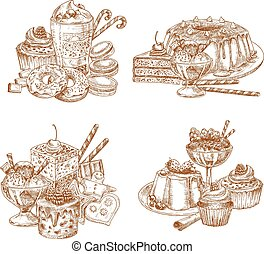 Vector sketch desserts and pastry for bakery shop