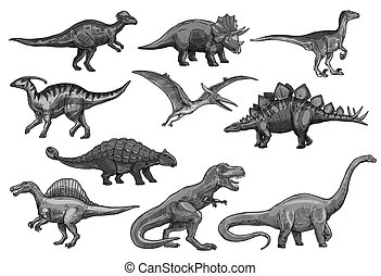 Vector sketch dinosaurs icons set - Dinosaurs sketch icons...