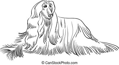 black and white sketch of the dog Afghan hound breed lying
