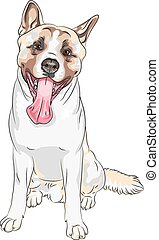 color sketch, closeup portrait, Dog American Akita breed laughs with his tongue hanging out, sitting and smiling