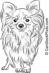vector sketch dog Chihuahua breed smiling - grayscale sketch...