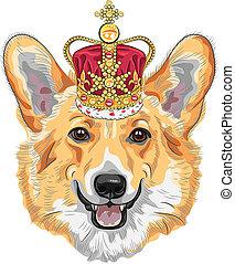 vector sketch dog Pembroke Welsh corgi smiling in gold crown...
