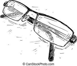 Vector Sketch Drawing Illustration of Glasses