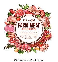 Vector sketch farm fresh meat butchery poster