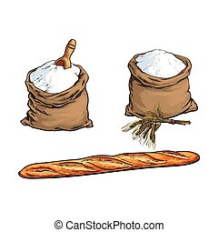 vector sketch flour bag, bread, baguette set - vector sketch...