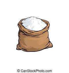 vector sketch flour bag isolated