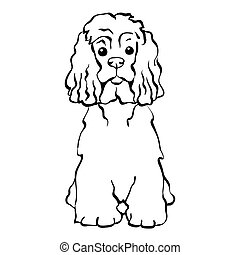Vector sketch funny dog sitting