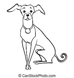 Vector sketch funny Italian Greyhound dog sitting