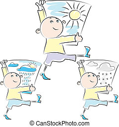 vector sketch funny mischievous man walks well with a placard in the hands of a solar symbol, rainy and snowy weather