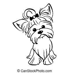 Vector sketch funny Yorkshire terrier dog sitting