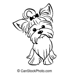 Vector sketch funny Yorkshire terrier dog sitting - Sketch...