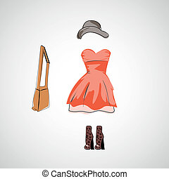 Vector sketch girl in fashion clothes eps