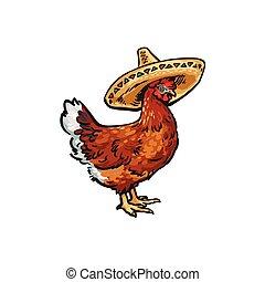 vector sketch hand drawn chicken in sombrero