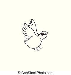 Vector sketch hand drawn sparrow bird isolated