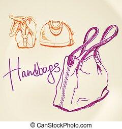 Vector sketch handbags - Vector illustration, sketch...