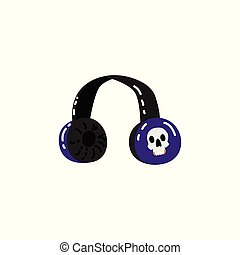 Vector sketch headphones with skull print
