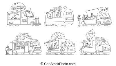 Vector sketch ice cream van in vintage style set