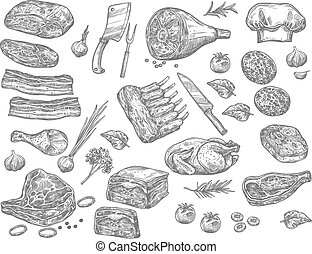 Vector sketch icons of meat for butchery shop - Meat sketch ...