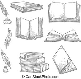 Old books and ancient manuscripts and ink quill or feather pen sketch icons. Obsolete vintage book, antique paper rolls and inkwell for bookshop writing stationery or literature design. Vector set