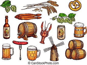 Vector sketch icons set of beer snacks and brewery