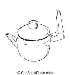Vector sketch illustration of kettle