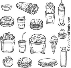 Vector sketch isolated fast food icons