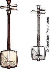 Vector sketch Japanese string music instrument - Japanese...