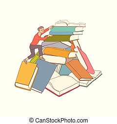 Vector sketch man climbing books pile
