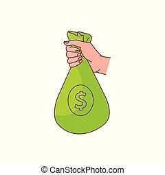 Vector sketch man hand holding money bag - sketch man hand...