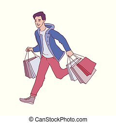 Vector sketch man running with shopping bags - Vector sketch...