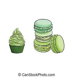 vector sketch matcha flavor macaroni, cupcake