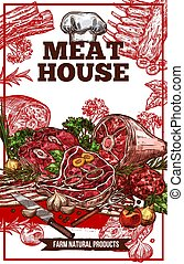 Vector sketch meat house poster - Meat House or butcher shop...